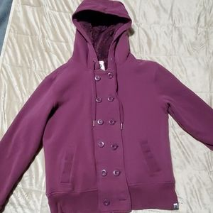 Purple zip up and button hoodie